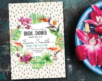 Tropical bridal shower invitation, bridal shower invitation, summer, orchid, flower, palm, flamingo, paradise, exotic, jungle, bride (Lana)