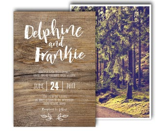 Vintage forest wedding invitation, forest wedding invite, woods wedding invitation, into the woods, woodland, rustic, wood, trees (Elodie)