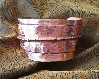 """Wide Copper Cuff Bracelet, Textured and Fold Formed 1-1/2"""" Wide Copper Cuff Bracelet"""