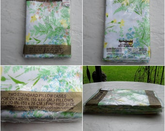 NOS Pillowcases Unused Vintage Bedding Springmaid Standard Pillow Cases Set of Two