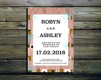 Atomic Mid Century Style Save the Date Wedding Invitations A6 with Plain White Envelope