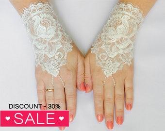 Lace fingerless glove, Ivory Wedding Glove, Bridal Wedding Glove, Wedding Accessories, Bridal Accessories 21