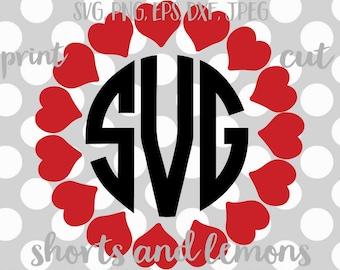heart svg, Valentine svg, heart Monogram svg, circle frame svg, SVG, DXF, EPS, circle frame svg, love svg, heart cut file, digital download