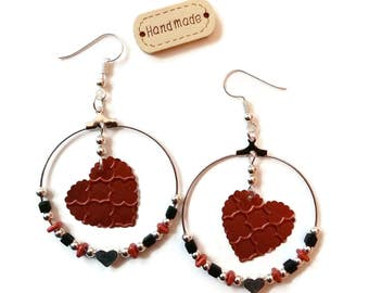 Silver hoops - hearts Nespresso Capsules - beads Miyuki - glass - recycling - Bronze earrings silver black