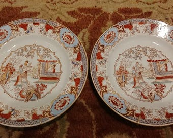 B.F. CANTON Staffordshire Chinoiserie Plates pair c. Mid to late 19th century Polychrome Decoration