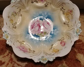 """Crisply Molded 9.25"""" R.S. PRUSSIA Lily Mold deep Bowl c.1890's Vivid Colors Gold"""
