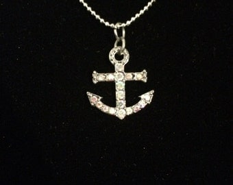 Gorgeous Silver Necklace with Silver and Pink Anchor Pendant