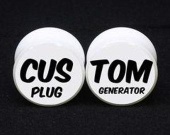Custom Your Design White Acrylic Double Flared Ear Gauges