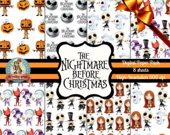 Nightmare Before Christmas Digital Paper,  Nightmare Before Christmas Printable Paper, Jack Skellington, Pumpkin King, Tim Burton, Digital