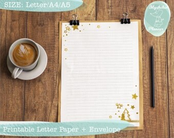 Printable writing paper Printable letter paper Printable envelope Printable stationary Christmas paper Gold pattern Golden christmas tree