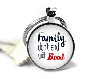 Supernatural Key Ring Keychain Supernatural Keyfob Family Dont end with Blood Quote Fangirl Fanboy