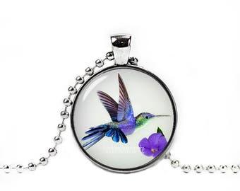 Hummingbird Pendant Hummingbird Necklace Bird Jewelry Photo Glass Pendant