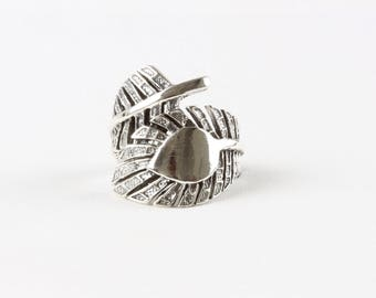 Sterling Silver Jungle Leaf Wrap Ring / Silver Statement Ring / Boho Ring / WSR12