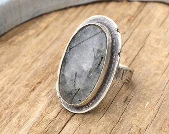 Rutilated Quartz Sterling Silver Ring, Rutilated Quartz Ring, Boho Ring, Statement Ring, Quartz Ring, Size 6.5, 17015