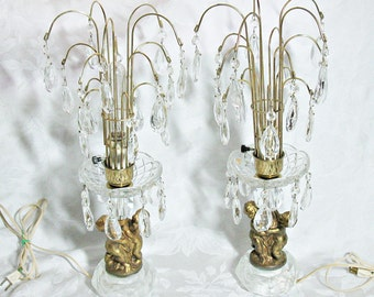 Vintage Brass And Clear Crystal Waterfall Lamps With Cherubs And Prisms