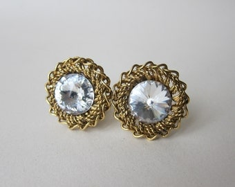 Clips POGGI Paris Metal Gold 1980's Swarovski Crystal Vintage earrings