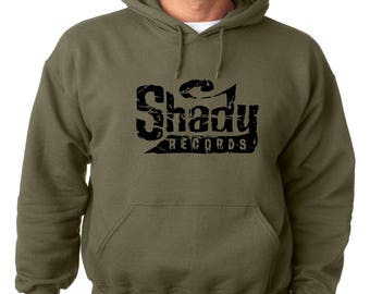 Shady Records Logo Hoodie Classic Vintage Style Hip Hop Fleece Sweatshirt Eminem Slim Shady Dirty Dozen Detroit Hip Hop Rap Marshall D 12