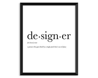 Designer definition, dictionary art print, dictionary art, office decor, minimalist poster, funny definition, poster, quotes, designer gifts