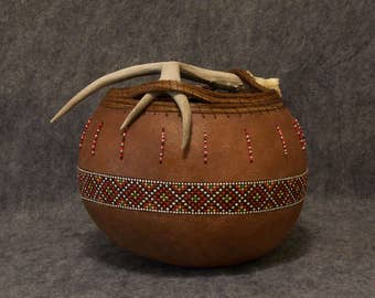 Fine Gourd Art - Antler Vessel