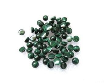 10 pieces 4mm Malachite Cabochon Round Gemstone - 4mm MALACHITE Round Cabochon Loose gemstone -Malachite Cabochon Round Gemstone AAA Quality