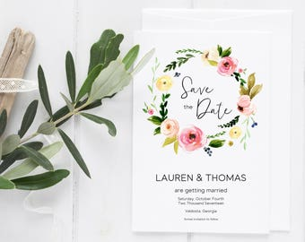 Save the Date Template, Floral Save the Date, Printable Save the Date, Save the Date, Printable Save the Date, DIY Save the Date. Floral