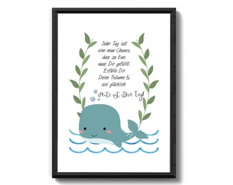 Whale - today is your day family art print