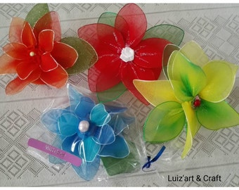 Soap sachet decorated with nylon stocking flowers