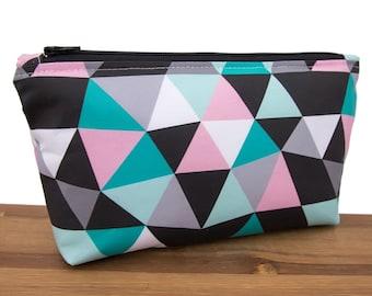 Geometric Bag - Cute Makeup Bag Set - Make Up Bag - Makeup Organizer - Gifts for Teens - Geo - Cosmetic Bag - Modern - Triangles - Girly #50