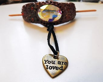 Artisan Created Polymer Swarvoski crystal bracelet and hair slide and charm