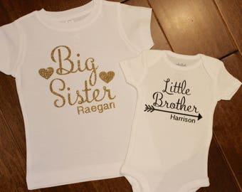 Big Sister Shirt, Little Brother Shirt, Sibling shirt Set,Big Sister Little brother shirt set, Big Sister, Little Brother Personalized Shirt