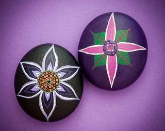 Pair of Mandala Stone Flowers