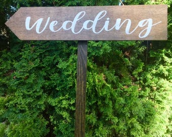 "Wedding Directional Arrow Sign-Rustic Wedding Sign-Wooden Wedding Sign-24""x 5"" Stake Wooden Sign"