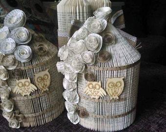 Personalised Wedding Table Decorations BIRD CAGE Birthday, Gift, Book Folding, Wedding, Anniversary