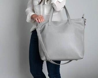 Grey LEATHER TOTE Bag, Oversize Grey Top Zip Tote, Italian Pebbled Leather Tote Bag - LONDON Bag -
