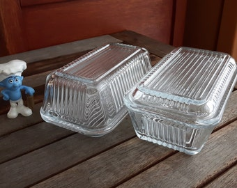 Vintage Pasabahce Clear Ribbed Glass Refrigerator Dishes with Lid / 2 containers for refrigerator vintage clear glass with lids