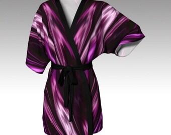 Kimono Robe, Draped Kimono, Dressing Gown, Purple Robe, Spa Robe, Beach Coverup, Bridesmaid Robe, Lounge Wear, Swimsuit Coverup, Womens Gift