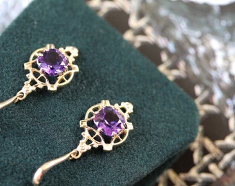 February Vera, Amethyst Drop Earrings PKJ0TD-D