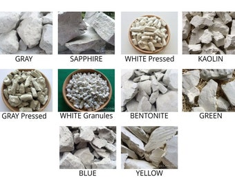 Set of Samples edible natural CLAY chunks for eating, 10 species (Total 1 lb / 450g) + Free Samples of CHALK