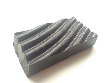 Handmade BLACK Clay soap with black clay, natural herbal vegan organic body soap bar with essential oils