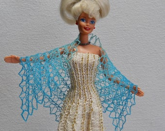 hand knit, hand painted pale blue and dark blue lacy shawl for 11 1/2 inch fashion doll
