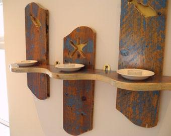 Bathroom Shelf made from Reclaimed Pine - Handmade - Beach, Sea and Candles
