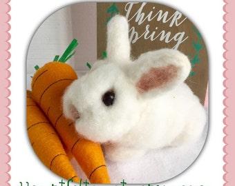 Needle Felted Bunny Rabbit, Wool Bunny Rabbit, Handmade Bunny Rabbit, White Bunny Rabbit, Easter Bunny