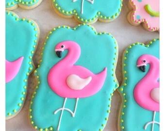 Custom Pink Flamingo Sugar Cookies