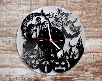 Nightmare before christmas vinyl wall clock. Silver record.