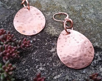 Rustic Copper Teardrop Dangle Earrings//Gifts for Her//Hammered Copper Earrings//Copper Dangles//Rustic Earrings//Rustic Copper//Earrings//