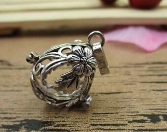 1 Pumpkin Charm Locket Pendant,Antique Silver Tone,Fitting 16mm Beads-TS049