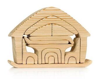 House with furniture - Wooden toys, Developmental toys, Montessori toys, Waldorf toys, Tactile toys, Unpainted toys, Wooden furniture