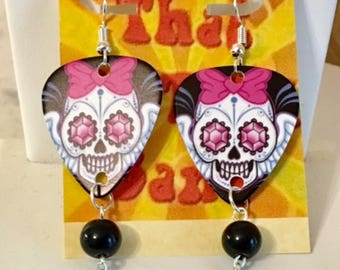 That NATION Band Day of the Dead Guitar Pick Earrings with Beads