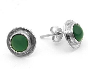 silver circle earrings, green Earrings, small Earrings, stone Earrings, silver stone Earring, green small Earring, green stud earrings, stud