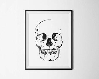 poster skull, Boho Skull Print, poster halloween, Skull art, printable poster, download poster